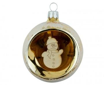 Vánoční koule zlatá světlá, sněhulák
