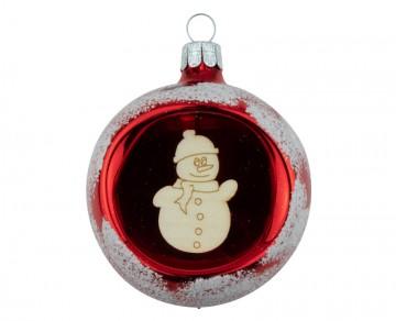 Vánoční koule červená, sněhulák