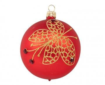 Vánoční koule červená, motýlek