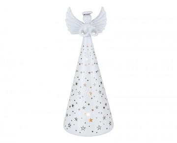Skleněný anděl perleťový, LED