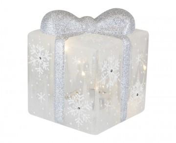 Skleněný LED dárek, námraza