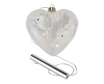 Skleněné LED srdce námraza