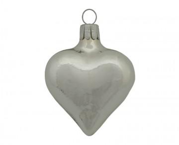 Vánoční srdce stříbrné, lesklé