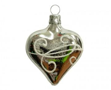 Vánoční srdce stříbrné, spirálka