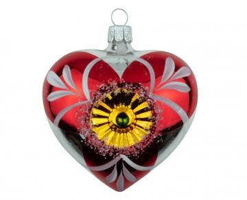 Vánoční srdce stříbrno-červené, květ