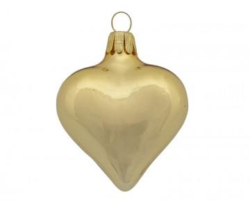 Vánoční srdce tmavě zlaté, lesklé