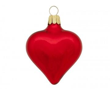 Vánoční srdce červené, lesklé
