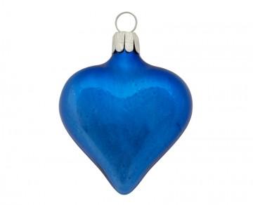 Vánoční srdce tmavě modré, lesklé