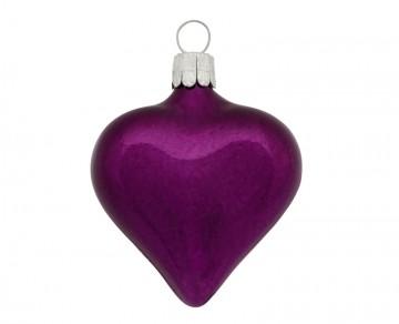Vánoční srdce tmavě fialové, lesklé