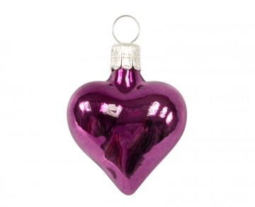 Vánoční srdce malé, tmavě fialové, lesklé