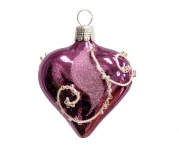 Vánoční srdce fialové, spirálka