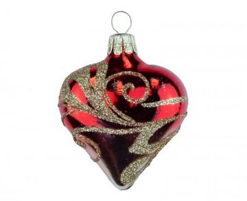 Vánoční srdce červené, vlnky