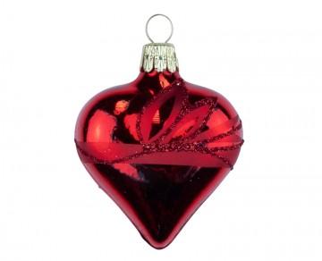 Vánoční srdce červené, lístky