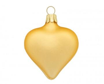 Vánoční srdce tmavě zlaté, matná