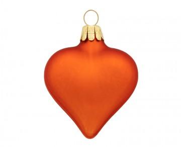 Vánoční srdce oranžové, matná