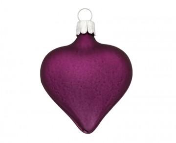 Vánoční srdce tmavě fialové, matné