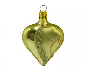 Vánoční srdce zelené, spirálka pruh