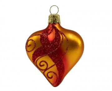 Vánoční srdce skořicovočervené, spirálka pruh