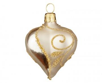 Vánoční srdce šampáňo, spirálka lístek
