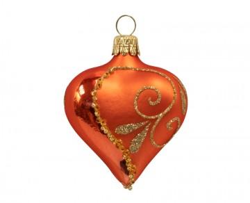 Vánoční srdce oranžové, spirálka lístek