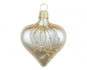Vánoční srdce šampáňo, perličky