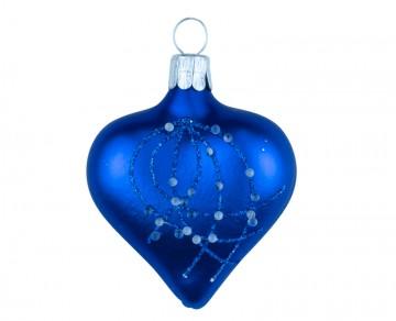 Vánoční srdce tmavě modré, perličky