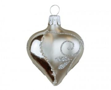 Vánoční srdce šedé, spirálka lístek