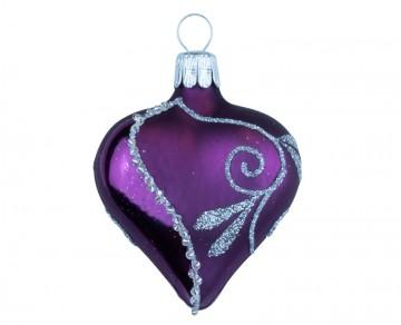 Vánoční srdce tmavě fialové, spirálka lístek