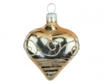 Vánoční srdce tmavě zlaté, spirálka