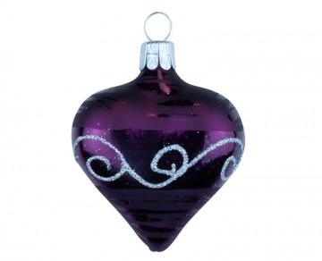 Vánoční srdce tmavě fialové, spirálka