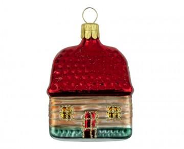 Skleněný domek vánoční, červený