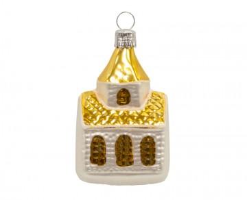 Skleněný domek kostel, zlatá světlá