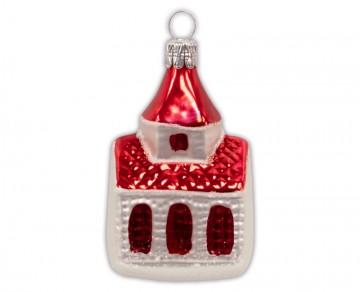 Skleněný domek kostel, červený