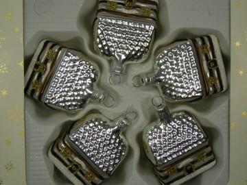 Skleněný domek roubenka, stříbrná