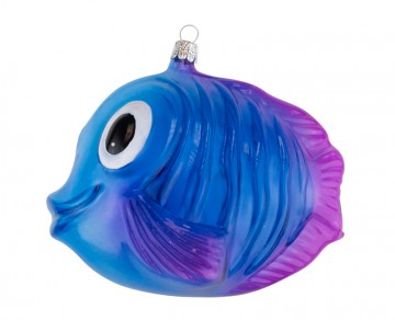 Skleněné zvířátko ryba, modrá