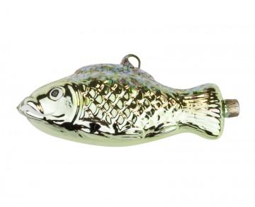 Skleněné zvířátko ryba, tmavě zelená