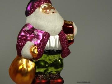 Skleněná figurka děda mráz, fialová