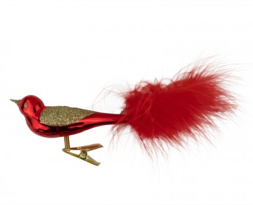 Skleněný ptáček, červený