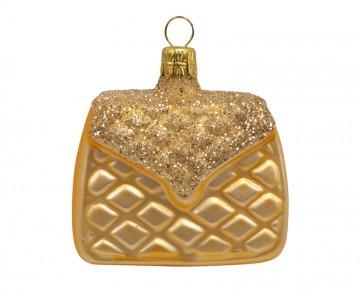 Vánoční ozdoba kabelka, zlatá tmavá