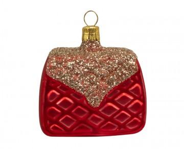 Vánoční ozdoba kabelka, červená