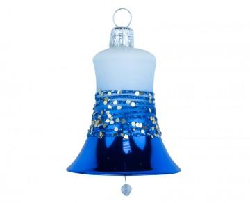 Vánoční zvonek bílo-modrý, proužek