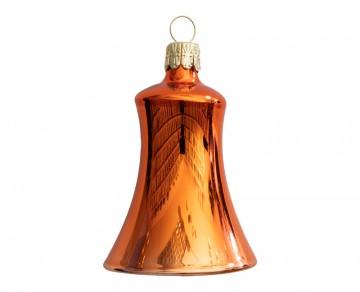 Vánoční zvonek oranžový, lesklý