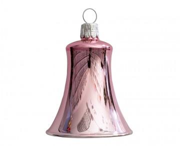 Vánoční zvonek růžový, lesklý