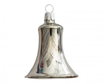 Vánoční zvonek šedý, lesklý