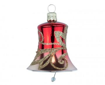 Vánoční zvonek červený, vlnky
