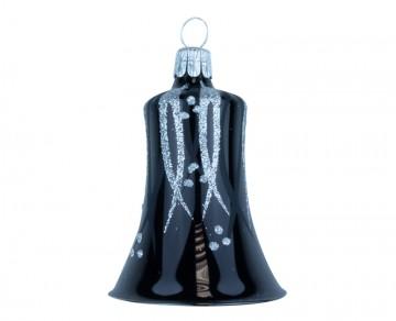 Vánoční zvonek černý, proužky puntík
