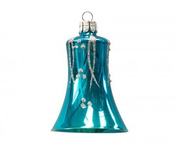 Vánoční zvonek tmavě tyrkysový, proužky puntík