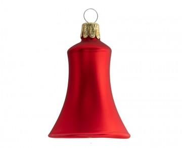 Vánoční zvonek malý červený, matný