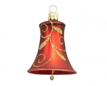 Vánoční zvonek bordó, spirálka lístek
