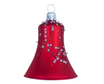Vánoční zvonek červený, perličky